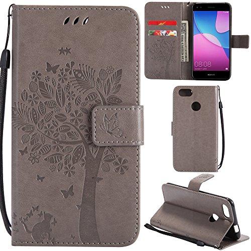 Ooboom® Huawei P Smart Custodia Modello Albero Gatto Flip in Pelle PU Cuoio Copertura Case Cover Wallet Portafoglio Supporto per Huawei P Smart - Grigio