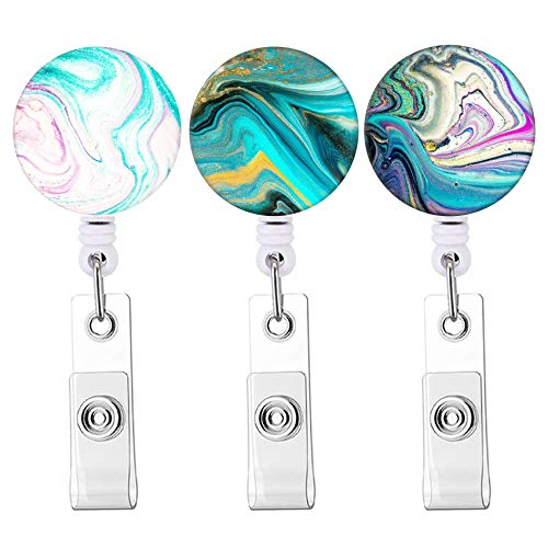 Badge Reel Cute Pattern Retractable Badge Holder with Alligator Clip, Nurse Name Decorative Badge Clip on ID Card Holders (Colorful Marble 3pack)