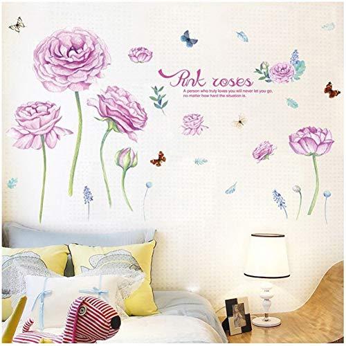 GUDOJK Muursticker Romantische rozen muurstickers voor woonkamer huiskamer decoratie venster Verwijderbare Diy plant poster Woonkamer slaapkamer decoratie