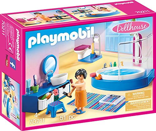 PLAYMOBIL PLAYMOBIL-70211 Dollhouse Baño, Multicolor, Talla