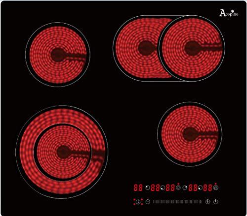 Kochfeld 60cm autark mit Bräterzone und Zweikreiszone, 7200 W, 9 Stufen, 4 Zonen, rahmenlose Ausführung, Touch-Slider, Timerfunktion, Acopino KM4-2