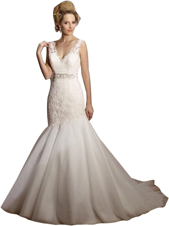 LISA.MOON Women's V Neck Sleeveless V Back Lace Applique Mermaid Wedding Dress