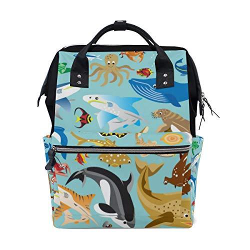 Jeansame Mumienrucksack Schultasche Laptop Reisetaschen Freizeittasche Daypack für Kinder Jungen Mädchen Damen Herren Wassertiere Fisch Hai Delfin Ozean Meer