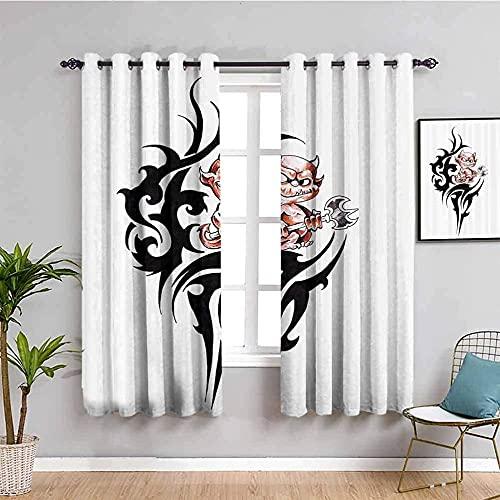JNWVU Opacas Cortinas Dormitorio - Blanco Diablo Arte nicho - Impresión 3D Aislantes de Frío y Calor 90% Opacas Cortinas - 234 x 230 cm - Salon Cocina Habitacion Niño Moderna Decorativa