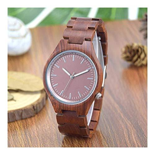 Leyue Reloj de Madera, Bueno para la protección y Salud del Medio Ambiente, la Moda Simple, la Moda Fresca, la Madera Preciosa Hecha a Mano, el Reloj de Cuarzo para Hombres (Color : Red Sandalwood)