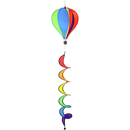 WorldaWhirl Hot Air Balloon Wind Spinner 6 Colored Sparkle PVC Panels Fiberglass Reinforced with Curled Tail and Swivels