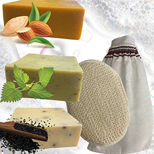 3 Naturseifen mit Peeling Handschuhe im Set - Handgemachte Naturseifen Mandelölseife, Brennesselseife & Schwarzkümmel Seife