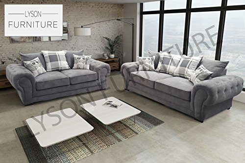 Sofá de tela, Verona, estilo Chesterfield, gris, 3 Seater
