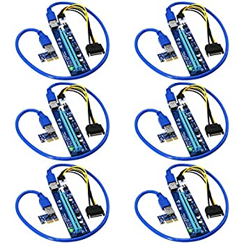 FebSmart PCI-E Riser for Bitcoin Litecoin ETH Coin Mining 6 PIN Powered PCIE Extension Cable GPU Riser Ethereum Mining ETH GPU Extension Cable PCIEX1 to PCIE X16 VER006C GPU Riser Blue 6-PCS