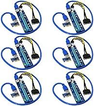 FebSmart PCI-E Riser for Bitcoin Litecoin ETH Coin Mining 6 PIN Powered PCIE Extension Cable GPU Riser Ethereum Mining ETH GPU Extension Cable PCIEX1 to PCIE X16 VER006C GPU Riser(Blue 6-PCS)