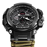 8-in-1 Outdoor Survival Watch for Men and Women, Digital Outdoor Sports Kits, Waterproof Emergency Survival Watches with Paracord,Whistle,Fire Starter,Scraper, Compass,Thermometer,SOS LED Army Green