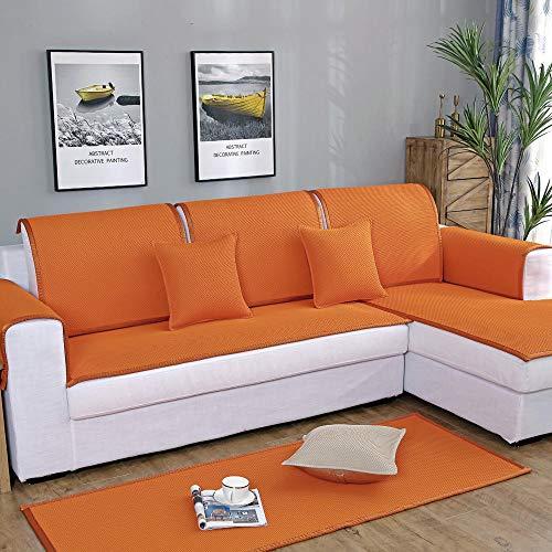 YUTJK Sofá Lavable,Plegable y Transpirable,Fundas de Almohada cuadradas Funda de sofá,Suaves para el sofá,el Dormitorio y el Coche,Naranja_70×240cm