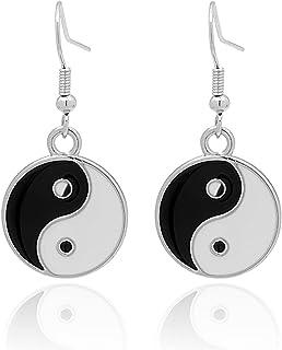 Sponsored Ad - TIANBANGSHI Enamel Black White Tai Chi Bagua Yin Yang Earrings - Simple Yin and Yang Life Balance Earrings ...