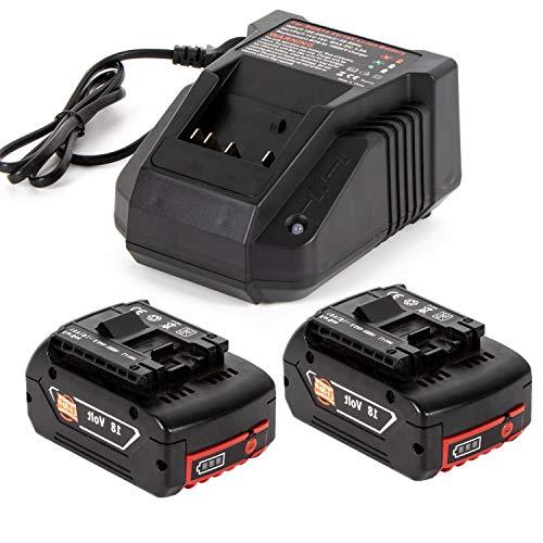 2 batteries de rechange au lithium 18 V 5,0 Ah avec chargeur rapide 3 A pour Bosch 18V BAT609 BAT609G BAT618 BAT618G BAT619 BAT619G BAT610G 2607336169 2607336170