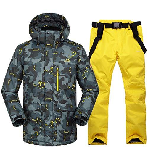 JOSCJKS Camouflage Hommes Vêtements de Neige Sports de Plein air Jeux de Snowboard Ski Combinaison de Ski Coupe-Vent imperméable Veste Thermique + Bib Pant Picture Jacket Pant12 XL
