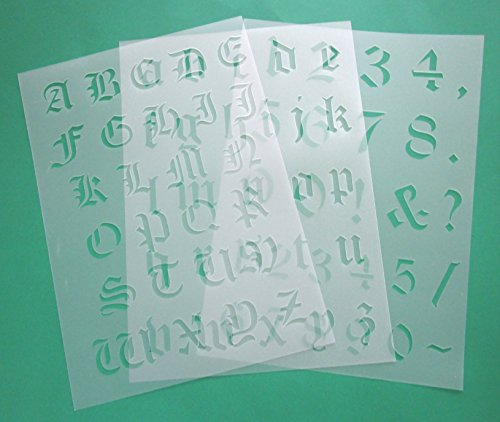 3er Schablonen Set 00302 - alte Schrift Buchstaben groß, klein und Zahlen