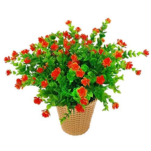 LERT Fiori di eucalipto Artificiali, Bouquet di Fiori di Piante Artificiali Verdi, Fiori Decorativi in plastica per Giardino/casa/Matrimonio/Festa, 4 Pezzi (Rosso Tramonto)