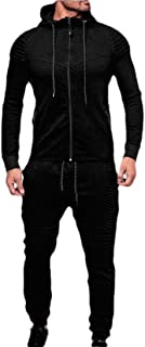 Mens 2 Piece Outfit Sport Workout Gym Tracksuit Hoodies Joggers Set