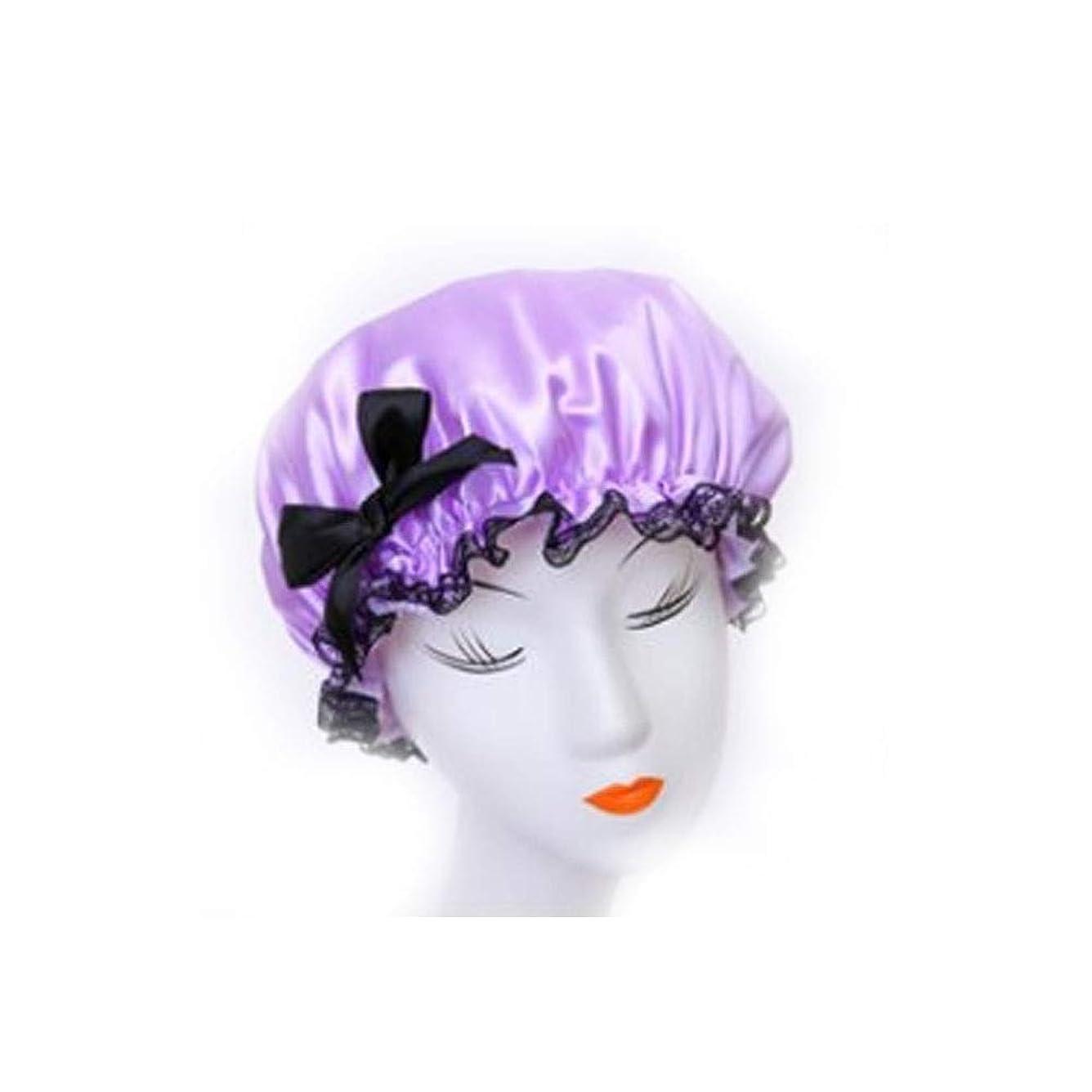 鷲確率ケーブルカーXiaoNUO シャワーキャップ、レディースシャワーキャップレディース用のすべての髪の長さと太さのデラックスシャワーキャップ - 防水とカビ防止、再利用可能なシャワーキャップ。 髪を乾いた状態に保ちます。 (Color : Purple)