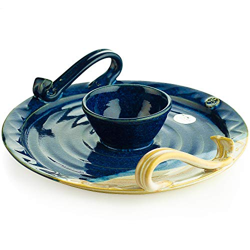 """Castle Arch Pottery Handmade Party Platter with Dip Bowl. 9"""" Diameter Serving Plate with Celtic Spiral Logo. Original Irish Design Hand-Glazed for Durability and Quality of Finish (Blue)"""