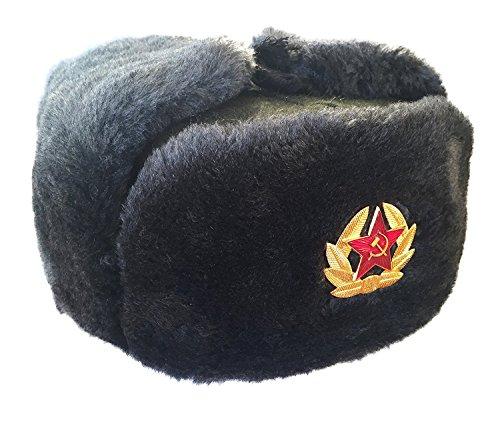 CUCUBA® RUSSISCHE GRAU MÜTZE SCHAPKA USCHANKA WINTERMÜTZE MILITÄRMÜTZE DER SOWIETISCHEN Armee - Geschenkidee (60 Size XL (EU))