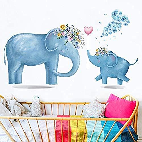 Pegatinas de pared,Dibujos animados Animal Elefante Guirnalda Calcomanías Autoadhesivas Papel tapiz para el hogar Regalos para niños Usados para la habitación del bebé Habitación de los niño
