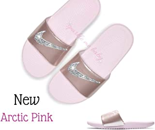Nike Slide Women's Arctic Pink Kawa Slides Swarovski Bedazzled Shoes Bling Nike Customized for you by Sparkle Me Baby 2U