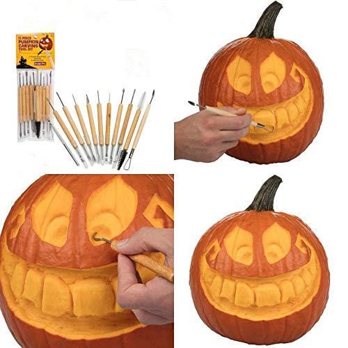Kit de Sculpture de Citrouille - Delaman Halloween Décoration Outils de Sculpture de Citrouille Ensemble de 11 Double Face pour l'Activité Familiale DIY Lanterne Citrouille