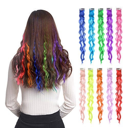 "10pcs Colored Clip in Hair Extensions 22"" Curly Fashion Hairpieces for Party Highlights Multi Color"