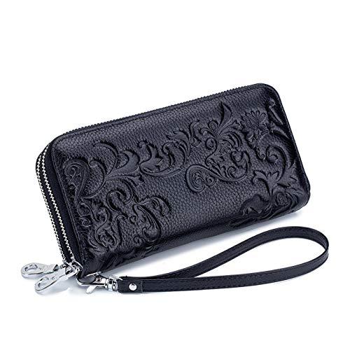 Yi-xir Bolso favorito para mujer con estampado de flores para mujer, cartera de cuero de vaca, tarjetero, monedero, bolsillo para teléfono y moneda, mochila diagonal (color: negro, tamaño: A)