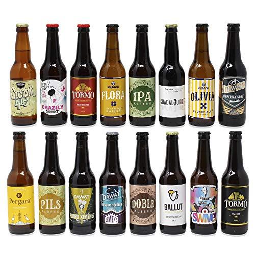 Pack de cerveza artesana. 16 Cervezas Artesanas de las mejores marcas. El mejor regalo. Incluye Río...