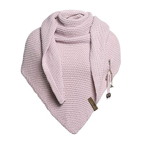 Knit Factory - Dreiecksschal Coco - Damen Strickschal mit Wolle - Hochwertige Qualität - XXL Schal - 190 x 85 cm - Rosa