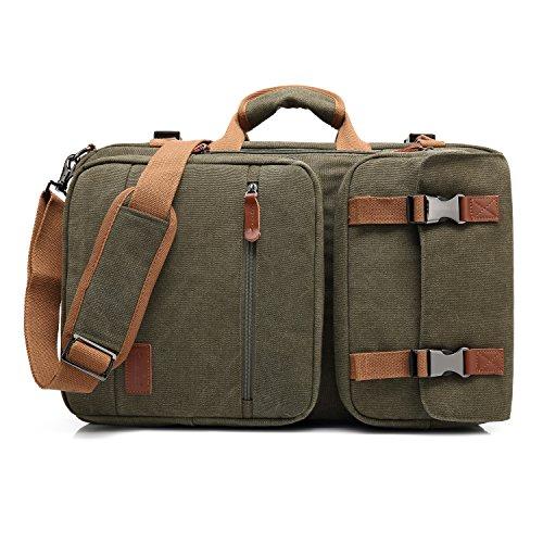 CoolBELL Convertible Briefcase Backpack Messenger Bag Shoulder Bag Laptop Case Business Briefcase Travel Rucksack Multi-Functional Handbag Fits 17.3 Inch Laptop for Men/Women (Canvas Green)