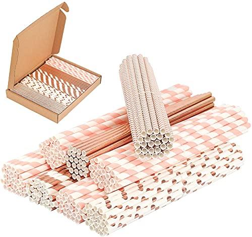 PATAZOK 200 Pezzi Cannucce di Carta,Cannucce di Carta Biodegradabili Oro Rosa Cannucce di Carta per Feste Bevande Conveniente Festa di Compleanno