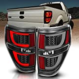AmeriLite Black LED Light Bar Replacement Tail Lights Set for 09-14 Ford F-150 - Passenger and Driver Side