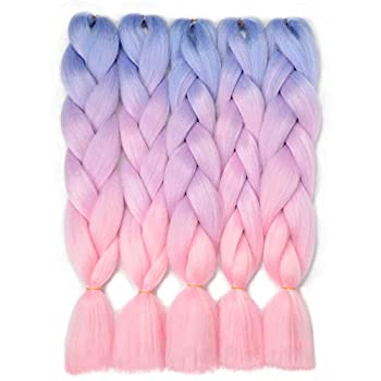 VCKOVCKO Ombre Braiding Hair Kanekalon Jumbo Braids Hair Extension 3 Tone Pink Jumbo Braiding For Twist Braiding 24 ,5 Bundles/Lot,Blue-Light purple-Pink