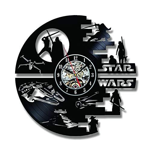 "SOKIMI Kreative Star Wars Schallplatte Wanduhr 3D 12""(30 cm) CD Modernes Design Kunst LED Uhr Horloge Home Living Decor,F1,Nolights"