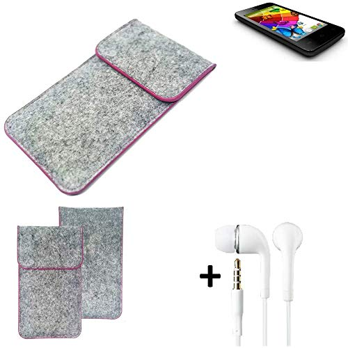 K-S-Trade® Filz Schutz Hülle Für Mobistel Cynus E4 Schutzhülle Filztasche Pouch Tasche Case Sleeve Handyhülle Filzhülle Hellgrau Pinker Rand + Kopfhörer