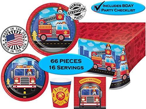 FLAMING FIRETRUCK Birthday Party Plates, Napkins, Cups + Tablecover - Firefighters, Dalmatian and Fire Trucks Birthday Party   65 pieces  16 guests   MADE IN THE USA