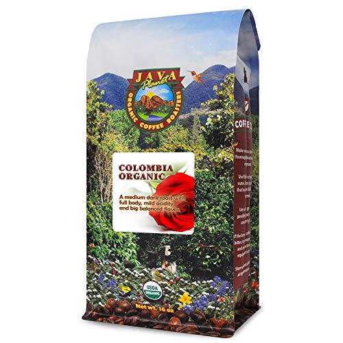 Java Planet, Organic Coffee Beans, Colombian Single Origin, Low Acid, Gourmet Medium Dark Roast of Arabica Whole Bean Coffee, Certified Organic, Rainforest Alliance Certified, Non GMO,1LB Bag