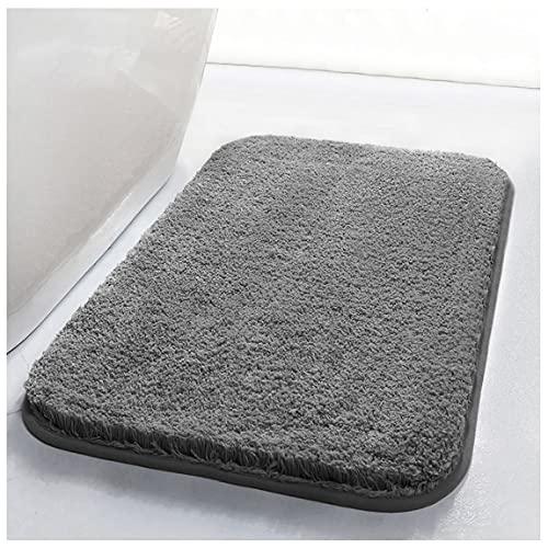 RenFox Tappeto da Bagno Assorbente Antiscivolo Tappetini per Il Bagno Morbido Tappetino Doccia Microfibra Pelo Lungo Lavabile in Lavatrice 50 x 80 x 3 cm (Grigio Scuro)