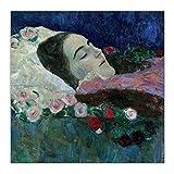 Gustav Klimt 《Miss Ria Munk en su lecho de muerte》 Arte en lienzo Pintura Obra de arte Póster Imagen Decoración de la pared Decoración interior del hogar-60X60 cm x1 Sin marco