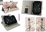 Emartbuy® Hot Rosa Eingabestift + Universalbereich Blumenmädchen Multi Winkel Folio Executive Wallet Tasche Etui Hülle Hülle Cover mit Kartensteckplätze Geeignet für I.onik TP - 1200QC 7.85 Inch Tablet