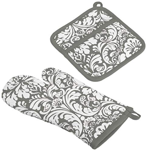 DII Everyday Kitchen Basic - Set de regalo de guante para horno y soporte para olla, 100% algodón, estampado de damasco, color Gris