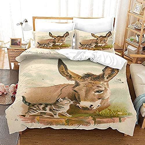 Påslakan sängkläder åsna djur supermjukt och mysigt lättskött påslakan täcke sängkläder set – 220 x 230 cm + 2 matchande örngott – 50 x 75 cm