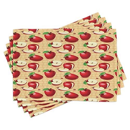 Marrty Apple Place Mats Set of 6, Red Apples Whole and Sliced on Wicker Natural Wood Background Graphic Print, Washable Fabric Placemats for Dining Room Kitchen Table Decor, Brown Green