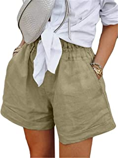 UUGYE Womens Elastic Waist Cotton Linen Solid Casual Shorts