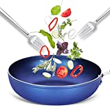 XBR Pentole da Cucina Padelle, Wok Antiaderente, Pentole in Alluminio Tutti i Piani Cottura Rivestimento Multifunzionale con Tecnologia Diamond per Uso Alimentare, Padella Blu (Dimensioni: 30CM)