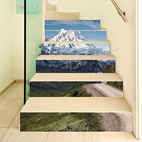 tzxdbh losetas vinilo para escaleras Blanco montaña nevada camino 100CMx18CMx13pieces(39.3'w x 7'h x 13pieces) Ecológicas PVC Autoadhesivas Calcomanías para Escalera Impermeables Extraíbles para Decor