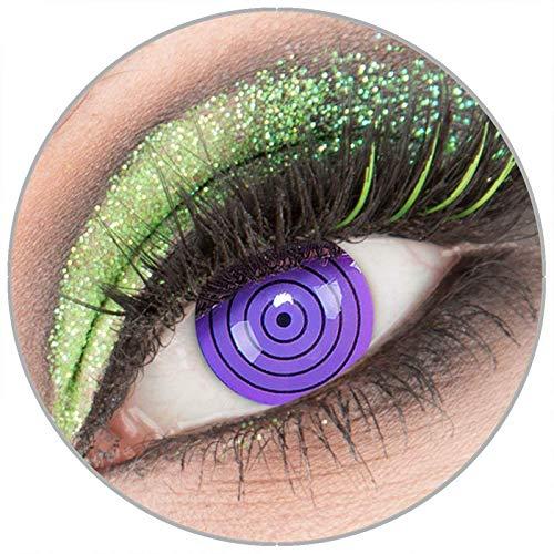Farbige violette 'Violet Rinnegan' Kontaktlinsen ohne Stärke 1 Paar Crazy Fun Kontaktlinsen mit Behälter zu Fasching Karneval Halloween - Topqualität von 'Giftauge'